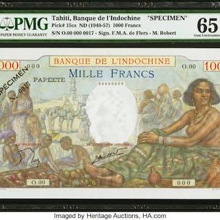 Tahiti Banque de l'Indochine 1000 Francs ND (1940-57) Pick 15cs Specimen