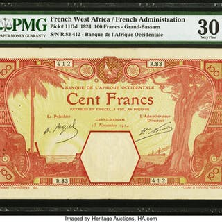 French West Africa Banque de l'Afrique Occidentale 100 Francs 13.11.1924