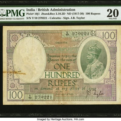 India Reserve Bank of India, Calcutta 100 Rupees ND (1927-37) Pick