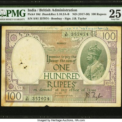 India Government of India, Bombay 100 Rupees ND (1917-30) Pick 10d