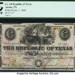 Austin, TX- Republic of Texas $100 Jan. 1, 1840 Cr. A8 Medlar 28 PCGS