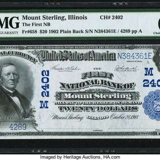 Mount Sterling, IL - $20 1902 Plain Back Fr. 658 The First NB Ch.