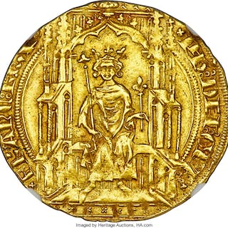 Philippe VI gold Double Royal d'Or ND (1328-1350) AU55 NGC,...