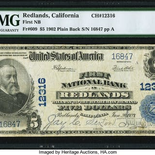 Redlands, CA - $5 1902 Plain Back Fr. 609 First NB Ch. # 12316 PMG
