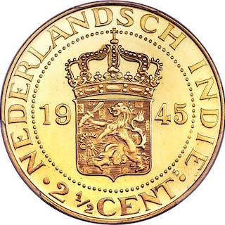 Dutch Colony. Wilhelmina gold Specimen Restrike 2-1/2 Cents 1945 SP67 PCGS,...
