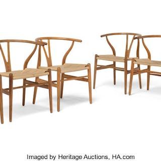 Hans Jørgensen Wegner (Danish 1914-2007) Six CH24 Wishbone Chairs