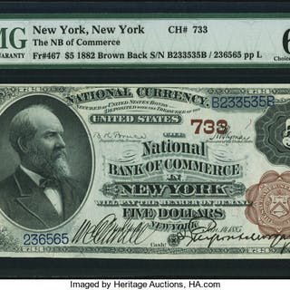 New York, NY - $5 1882 Brown Back Fr. 467 The NB of Commerce Ch. #