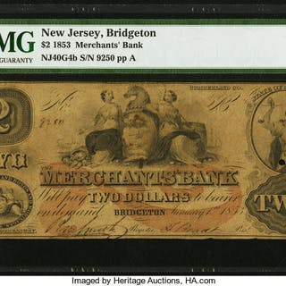 Bridgeton, NJ- Merchants' Bank $2 Jan. 1, 1853 G4b Wait UNL PMG Choice