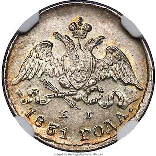 Nicholas I 5 Kopecks 1831 C??-H? MS66 NGC,...