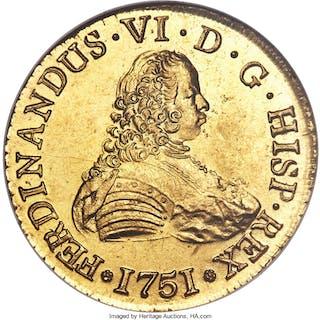 Ferdinand VI gold 8 Escudos 1751 So-J MS62 NGC,...