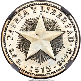 "Republic Proof ""Star"" 10 Centavos 1915 PR64 NGC,..."