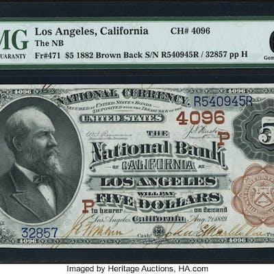 Los Angeles, CA - $5 1882 Brown Back Fr. 471 The NB of Los Angeles
