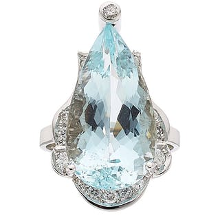 Aquamarine, Diamond, White Gold Ring ...