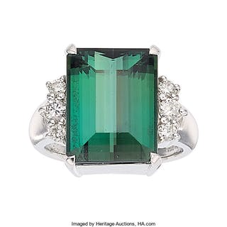 Tourmaline, Diamond, Platinum Ring ...