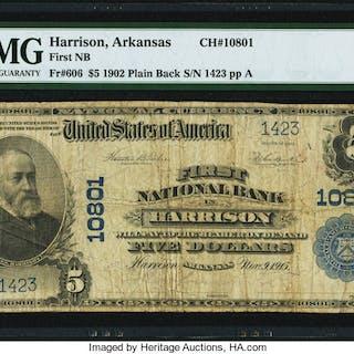 Harrison, AR - $5 1902 Plain Back Fr. 606 First NB Ch. # 10801 PMG