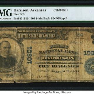 Harrison, AR - $10 1902 Plain Back Fr. 632 First NB Ch. # 10801 PMG