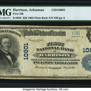 Harrison, AR - $20 1902 Plain Back Fr. 658 First NB Ch. # 10801 PMG