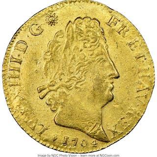 Louis XIV gold Louis d'Or 1704-& MS62+ NGC...