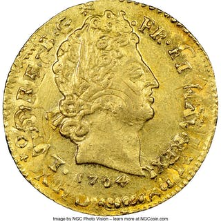 Louis XIV gold Louis d'Or 1704-O MS61 NGC,...