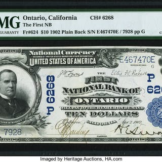 Ontario, CA - $10 1902 Plain Back Fr. 624 The First NB Ch. # (P)6268