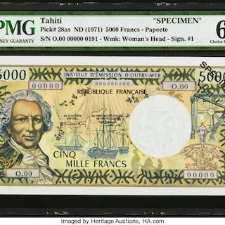 Tahiti Institut D'Emission D'Outre-Mer 5,000 Francs ND (1971) Pick