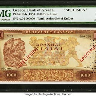 Greece Bank of Greece 1000 Drachmai 16.1.1956 Pick 194s Specimen PMG
