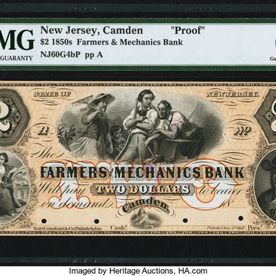 Camden, NJ- Farmers and Mechanics Bank $2 18__ G4b Wait 294 PMG Gem