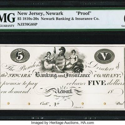 Newark, NJ- Newark Banking and Insurance Company $5 18__ As G88 Proof
