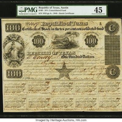 Austin, TX- Republic of Texas Certificate of Stock $100 June 15, 1840