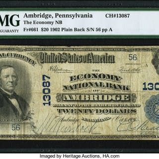 Ambridge, PA - $20 1902 Plain Back Fr. 661 The Economy NB Ch. # 13087