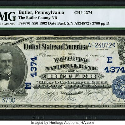 Butler, PA - $50 1902 Date Back Fr. 670 The Butler County NB Ch. #