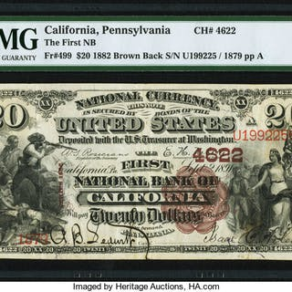 California, PA - $20 1882 Brown Back Fr. 499 The First NB Ch. # 4622