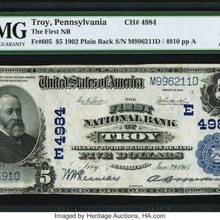 Troy, PA - $5 1902 Plain Back Fr. 605 The First NB Ch. # (E)4984 PMG