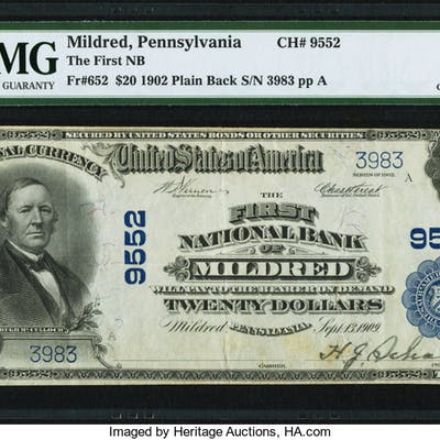 Mildred, PA - $20 1902 Plain Back Fr. 652 The First NB Ch. # 9552