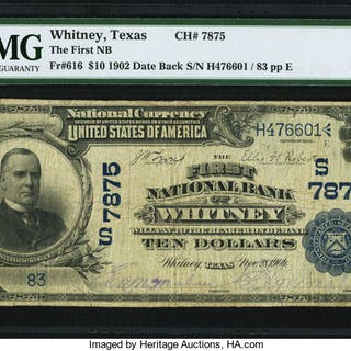 Whitney, TX - $10 1902 Date Back Fr. 616 The First NB Ch. # (S)7875