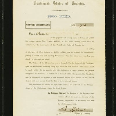 Ball 151 Cr. 114 Cotton Certificate $1,000 1862 PMG Choice Extremely