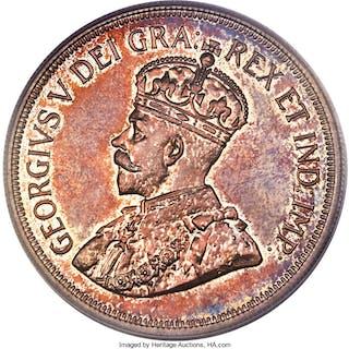 British Colony. George V Proof 45 Piastres (5 Shillings) 1928 PR64 PCGS,...