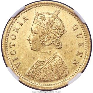 British India. Victoria gold Mohur 1862-(c) AU58 NGC,...