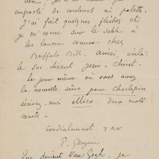 Paul Gauguin. Autograph Letter Signed.  ...