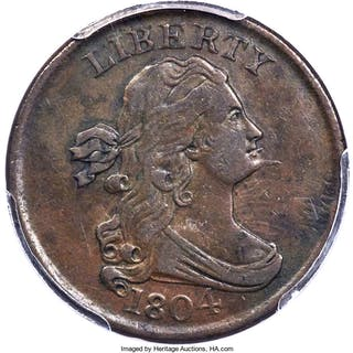 1804 1/2C  Spiked Chin  C-5, BN, MS