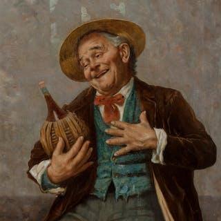 Jules Zermati (Italian, 1880-1920) The Wine Connoisseur Oil on canvas