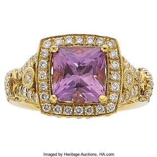 Purple Sapphire, Diamond, Gold Ring ...