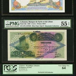 Lebanon Trio of French Colonial Types from 1939 and 1942. ... (Total: 3 notes)