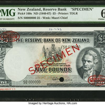 New Zealand Reserve Bank of New Zealand 5 Pounds (1940-1967) Pick
