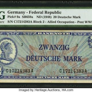 Germany Federal Republic Allied Occupation Post World War II 20 Mark
