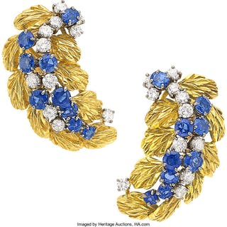 Sapphire, Diamond, Platinum, Gold Earrings, Jacques Timey for Harry Winston ...