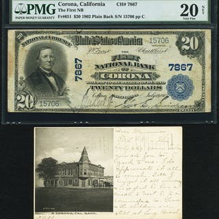 Corona, CA - $20 1902 Plain Back Fr. 651 The First NB Ch. # 7867 PMG