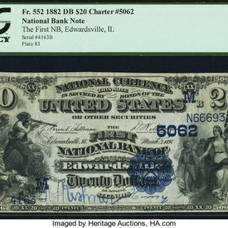 Edwardsville, IL - $20 1882 Date Back Fr. 552 The First NB Ch. # (M)5062