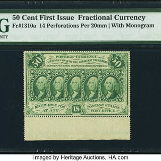 Fr. 1310a 50¢ First Issue PMG Choice Uncirculated 64 EPQ. ...