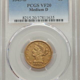 1843-D $5 Medium D